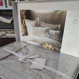 Комплект постельного белья сатин с вышивкой и кружевом Тм Pupilla евро размер Swan cappuccino, фото 4