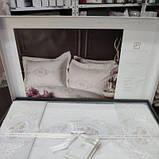 Комплект постельного белья сатин с вышивкой и кружевом Тм Pupilla Florya ekru, фото 4