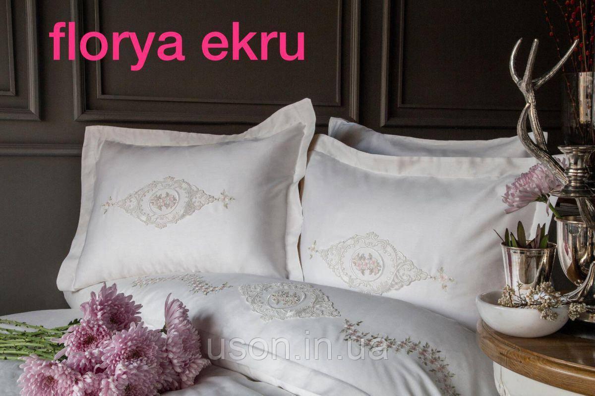 Комплект постельного белья сатин с вышивкой и кружевом Тм Pupilla Florya ekru