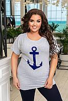 Женская футболка в полосу с якорем. Есть большие размеры!48-62р.(3расцв.)