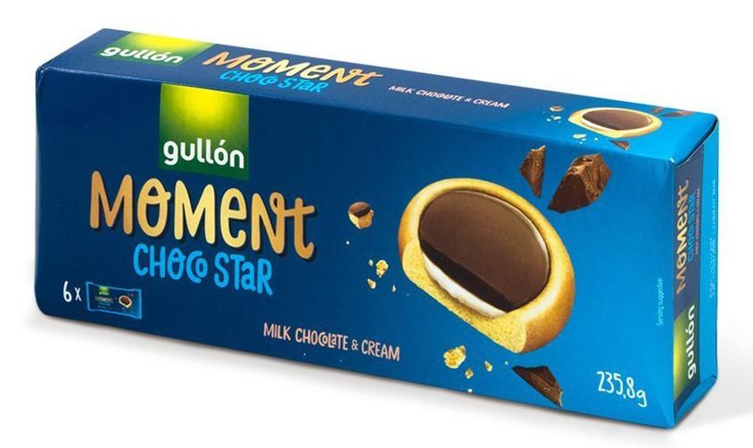 Печиво GULLON MOMENT ChocoStar, з молочним шоколадом  235г, 16шт/ящ