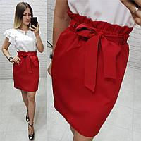 Юбка модная арт. 174 красная / красного цвета , фото 1