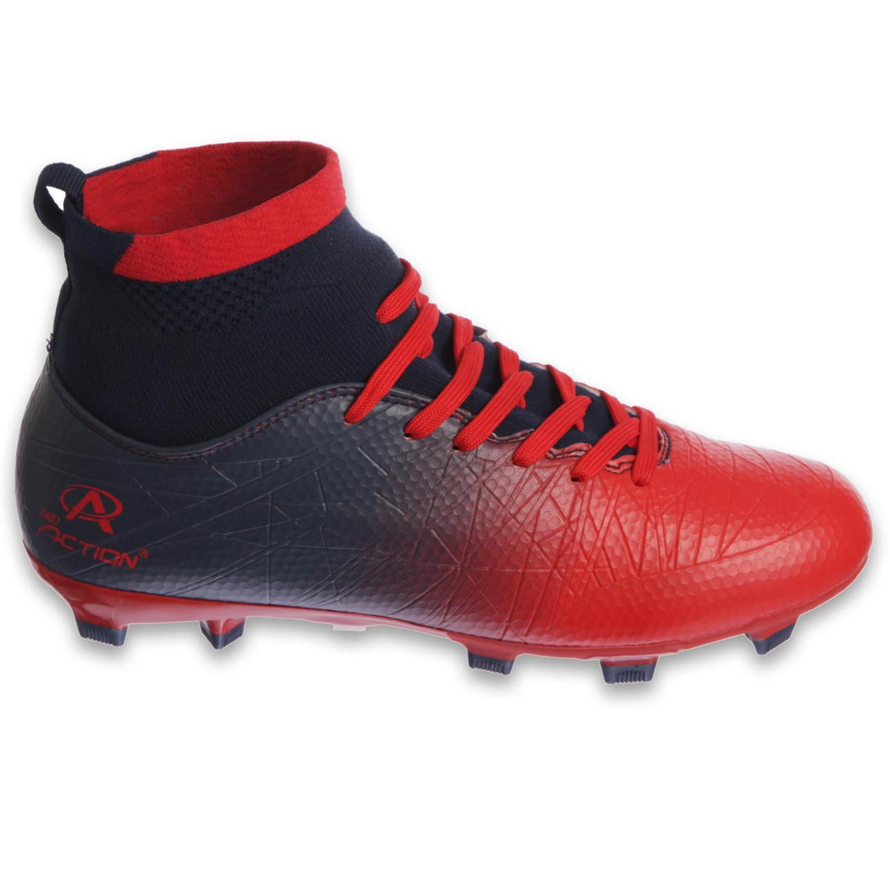 Бутсы футбольная обувь подростковая с носком Pro Action PRO-1000-12B NAVY/RED размер 35-40 (верх-TPU, подошва-RB, темно-синий-красный)