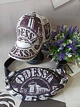 Набор бейсболка+бананка Odessa 56-58 Белая с черным (0000236)