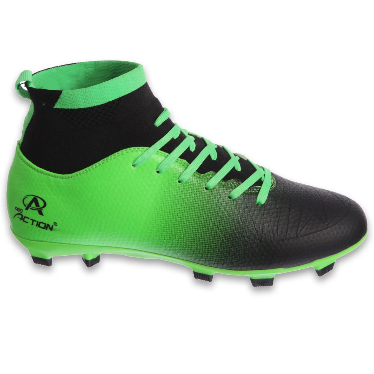 Бутсы футбольная обувь подростковая с носком Pro Action PRO-1000-15B BLACK/GREEN размер 35-40 (верх-TPU, подошва-RB, зеленый-черный)