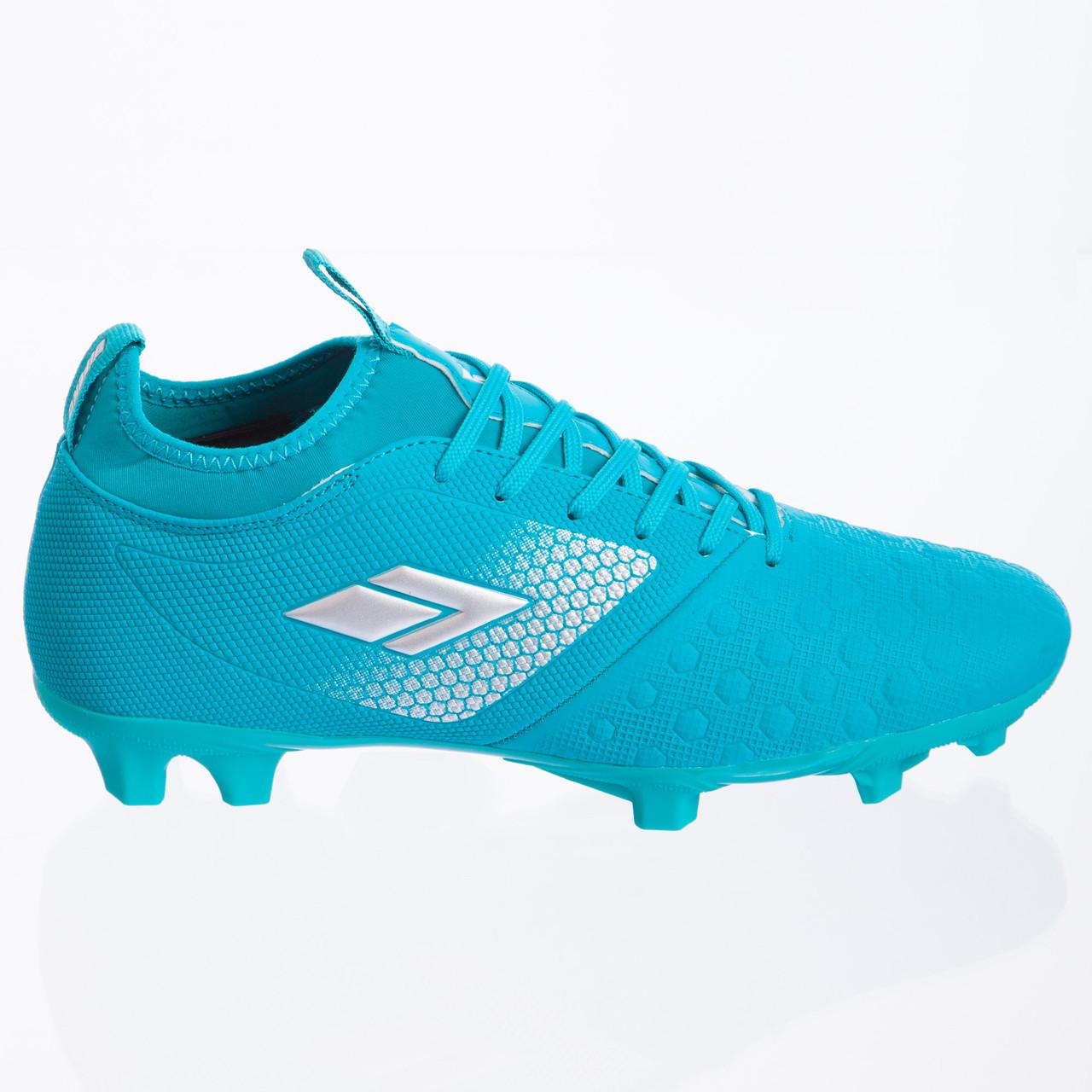 Бутсы футбольная обувь с носком 180304-1 CYAN/SILVER размер 40-45 (TPU, голубой)