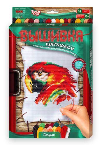 """Вышивка крестиком на растяжке с рамкой """"Попугай"""" VK-02-04"""