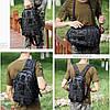 Черная тактическая сумка-рюкзак, мессенджер, барсетка., фото 3