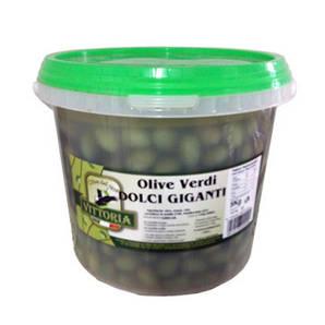 Оливки зелені VITTORIA Verdi dolce giganti ВІДРО, нетто 3кг, брутто 5кг