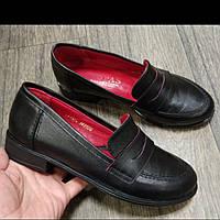 Лоферы женские кожаные чёрные. Женские туфли низкий ход.
