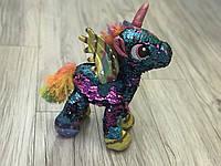 Мягкая игрушка Лошадь, единорог, 29 см, пайетки, 2 цвета, МР1907