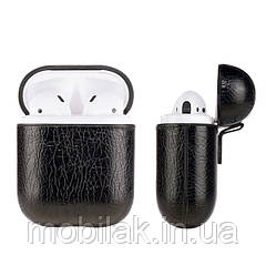 Чехол для Apple AirPods 1,2 с имитацией кожи черный, коричневый