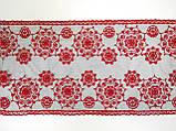 Ажурное кружево вышивка на сетке,красного цвета, ширина 22 см, фото 5