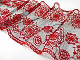 Ажурное кружево вышивка на сетке,красного цвета, ширина 22 см, фото 4