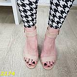 Босоножки классика замшевые на широком устойчивом толстом каблуке бежевые 40, 41 (2174), фото 4