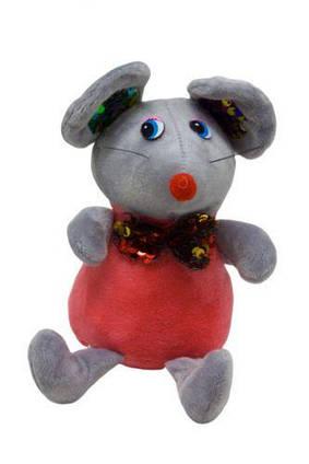 Мышка в блестящем шейном платке (серая) 026566