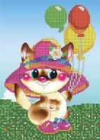 Схема на ткани для вышивания бисером Веселый котенок КМР 5137