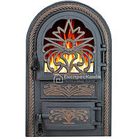 Дверцы печные со стеклом «ELIT» 340х540 Чугунные Печные Дверцы Дверца Топочная со стеклом Дверцы для Барбекю