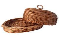 Хлебница из лозы с крышкой овальная