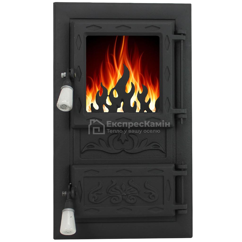 """Дверцы печные со стеклом """"MORIS"""" 310х520. Дверцы для кухни, барбекю"""