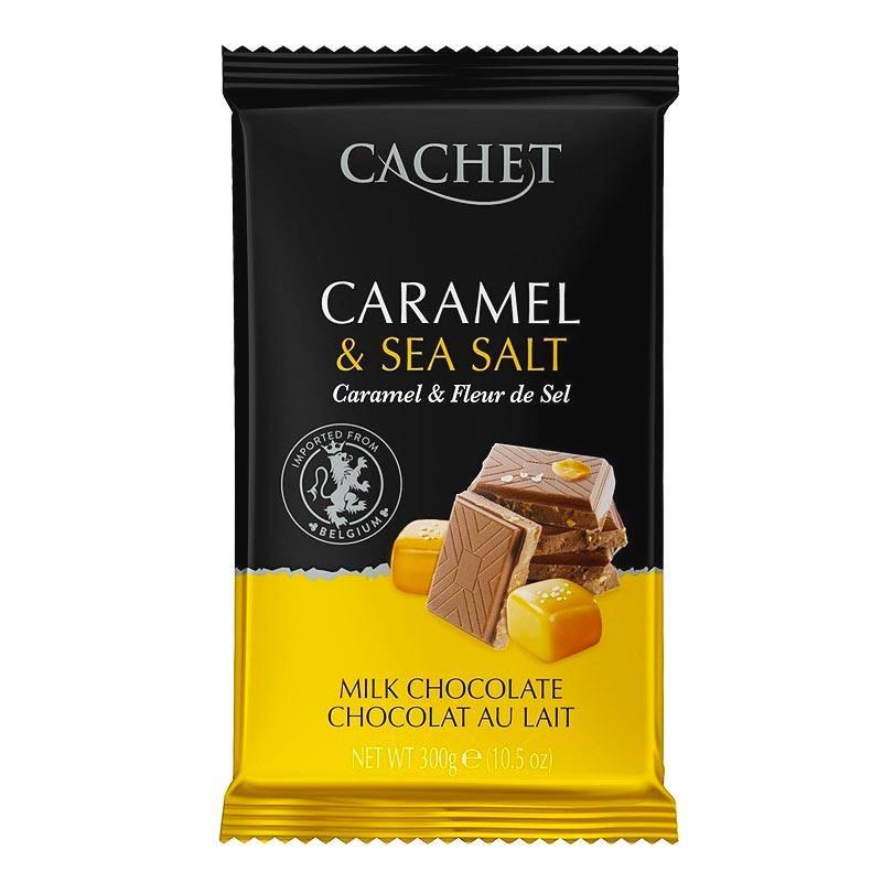 Шоколад Cachet №46 Caramel&Sea salt молочний з карамеллю і сіллю 300г (12шт/ящ)