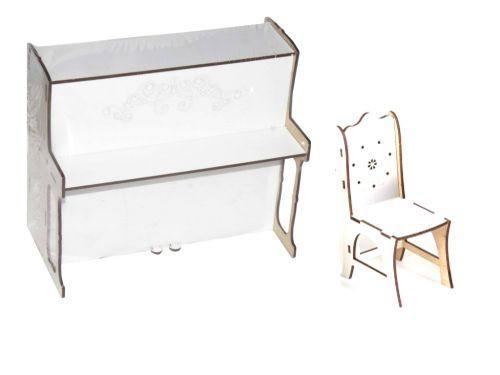 Игрушечное деревянное пианино со стулом (большое) Б40