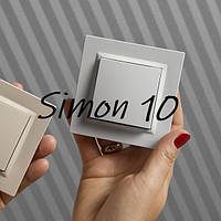 Розетка двойная SIMON10 с заземлением French, модуль, белый