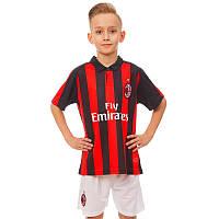 Форма футбольная детская AC MILAN домашняя 2019 Zelart CO-8039 (р-р 20-28-6-14лет, 110-155см, красный-черный)