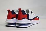 Стильные, мужкие, летние кроссовки бело-сине-красные, сетка.Стильні, чоловічі білі-сині кросівки, сітка., фото 3