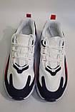 Стильные, мужкие, летние кроссовки бело-сине-красные, сетка.Стильні, чоловічі білі-сині кросівки, сітка., фото 6