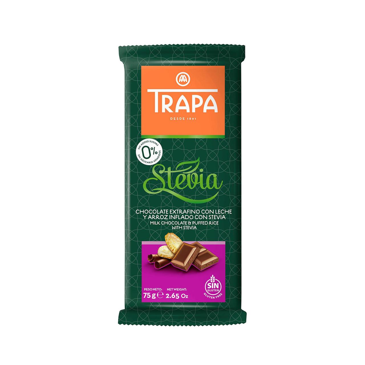 Шоколад TRAPA STEVIA молочний з рисовими кульками 75г 18шт/ящ 023725