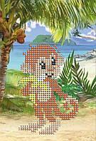 Схема на ткани для вышивания бисером Обезьянка на Гаваях КМР 5145