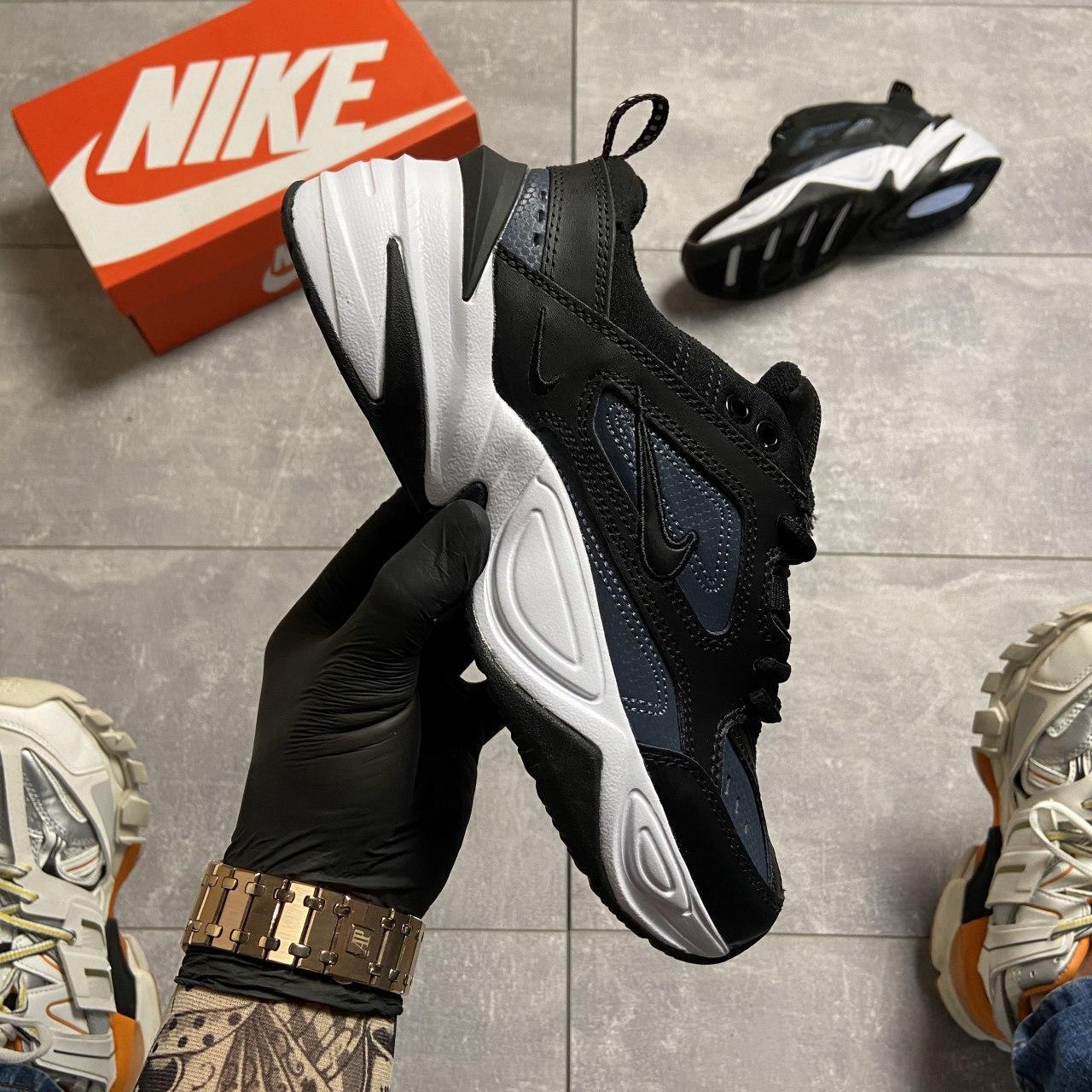 Женские кроссовки Nike M2K Tekno Essential, Женские Найк М2К Текно Черные Кожаные