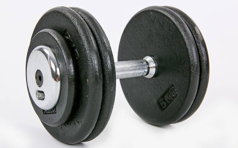 Гантель цілісна професійна сталева RECORD (1шт) TA-7231-25 25кг (сталь, хромована сталь, вага 25кг)