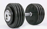 Гантель цілісна професійна сталева RECORD (1шт) TA-7231-45 45кг (сталь, хромована сталь, вага 45кг)