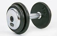 Гантель цельная профессиональная стальная RECORD (1шт) TA-7231-7_5 7,5кг (сталь, сталь хромированная, вес7,5