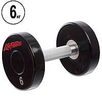 Гантель цілісна професійна Life Fitness (1шт) SC-80081-6 6кг (поліуретанове покриття, вага 6кг)