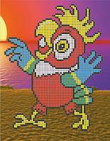 Схема на ткани для вышивания бисером Попугай Кеша на Таити КМР 5146