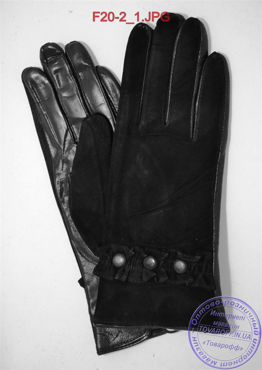 """Женские замшевые перчатки с кожаной ладошкой """"лайка"""" на шерстяной вязаной подкладке - F20-2"""