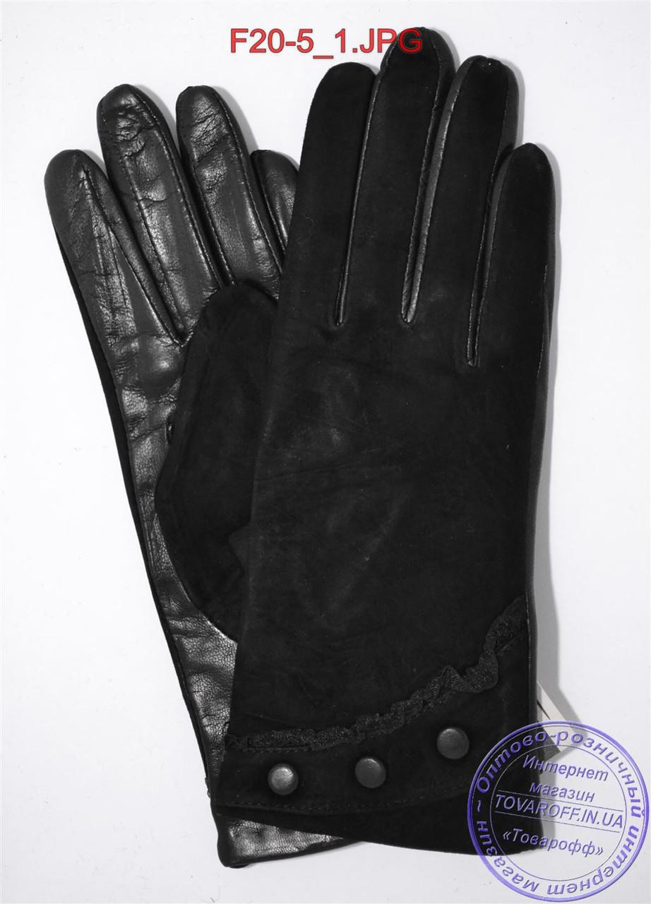 """Оптом женские замшевые перчатки с кожаной ладошкой """"лайка"""" на шерстяной вязаной подкладке - F20-5"""