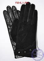 """Оптом женские замшевые перчатки с кожаной ладошкой """"лайка"""" на шерстяной вязаной подкладке - F20-5, фото 1"""