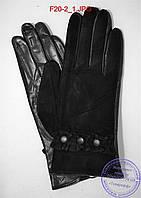 """Оптом женские замшевые перчатки с кожаной ладошкой """"лайка"""" на шерстяной вязаной подкладке - F20-2, фото 1"""
