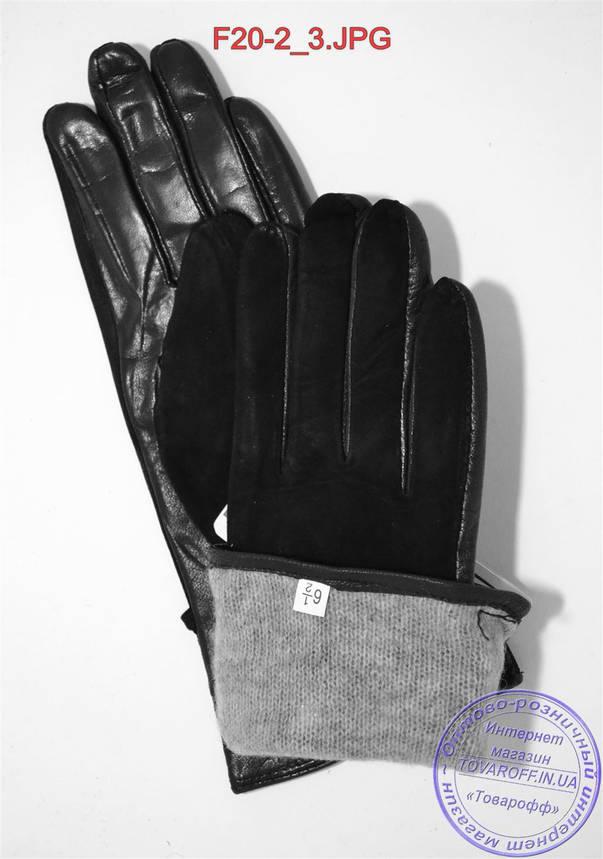 """Оптом женские замшевые перчатки с кожаной ладошкой """"лайка"""" на шерстяной вязаной подкладке - F20-2, фото 2"""