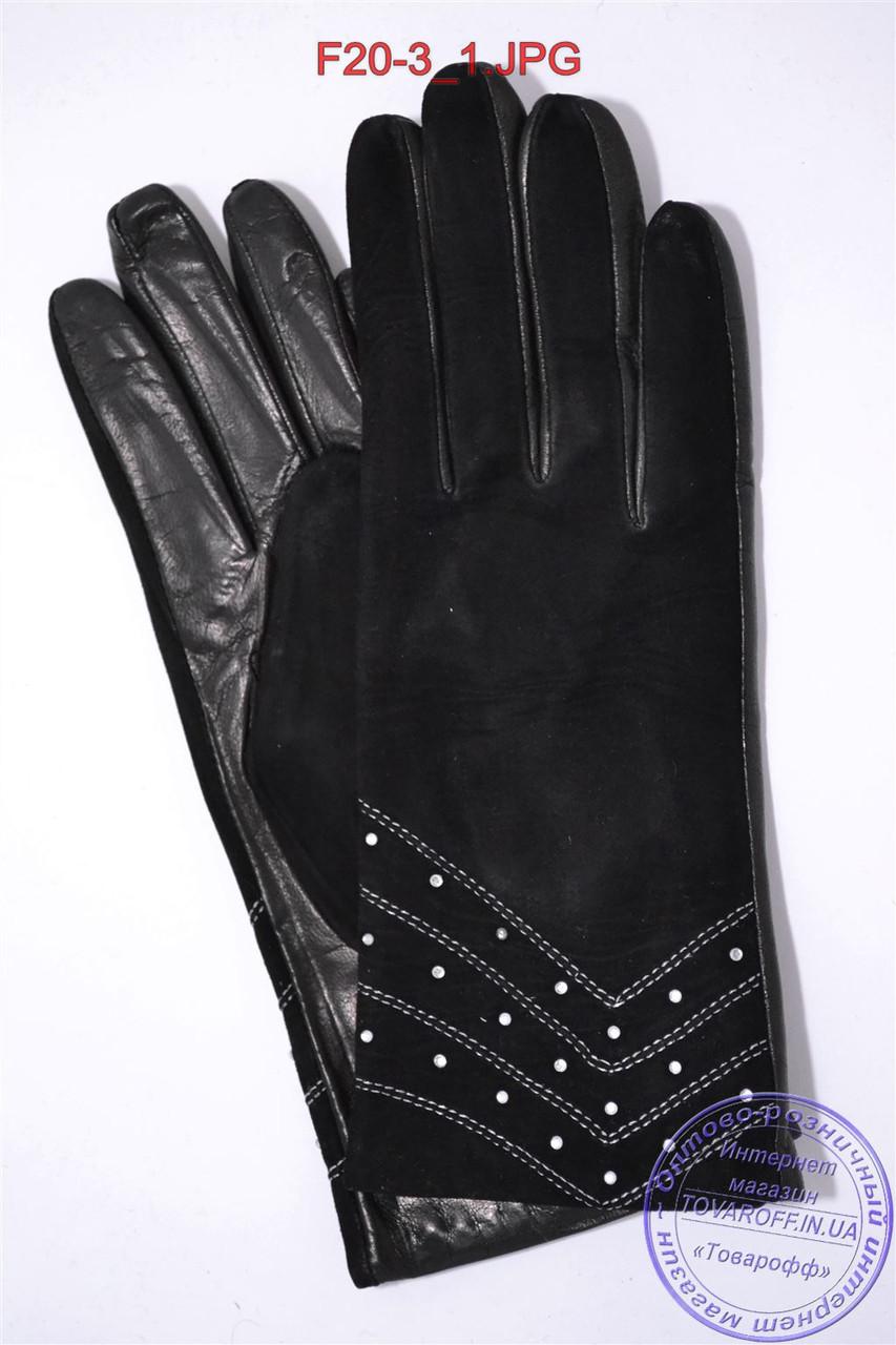 """Оптом женские замшевые перчатки с кожаной ладошкой """"лайка"""" на шерстяной вязаной подкладке - F20-3"""