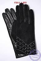 """Оптом женские замшевые перчатки с кожаной ладошкой """"лайка"""" на шерстяной вязаной подкладке - F20-3, фото 1"""