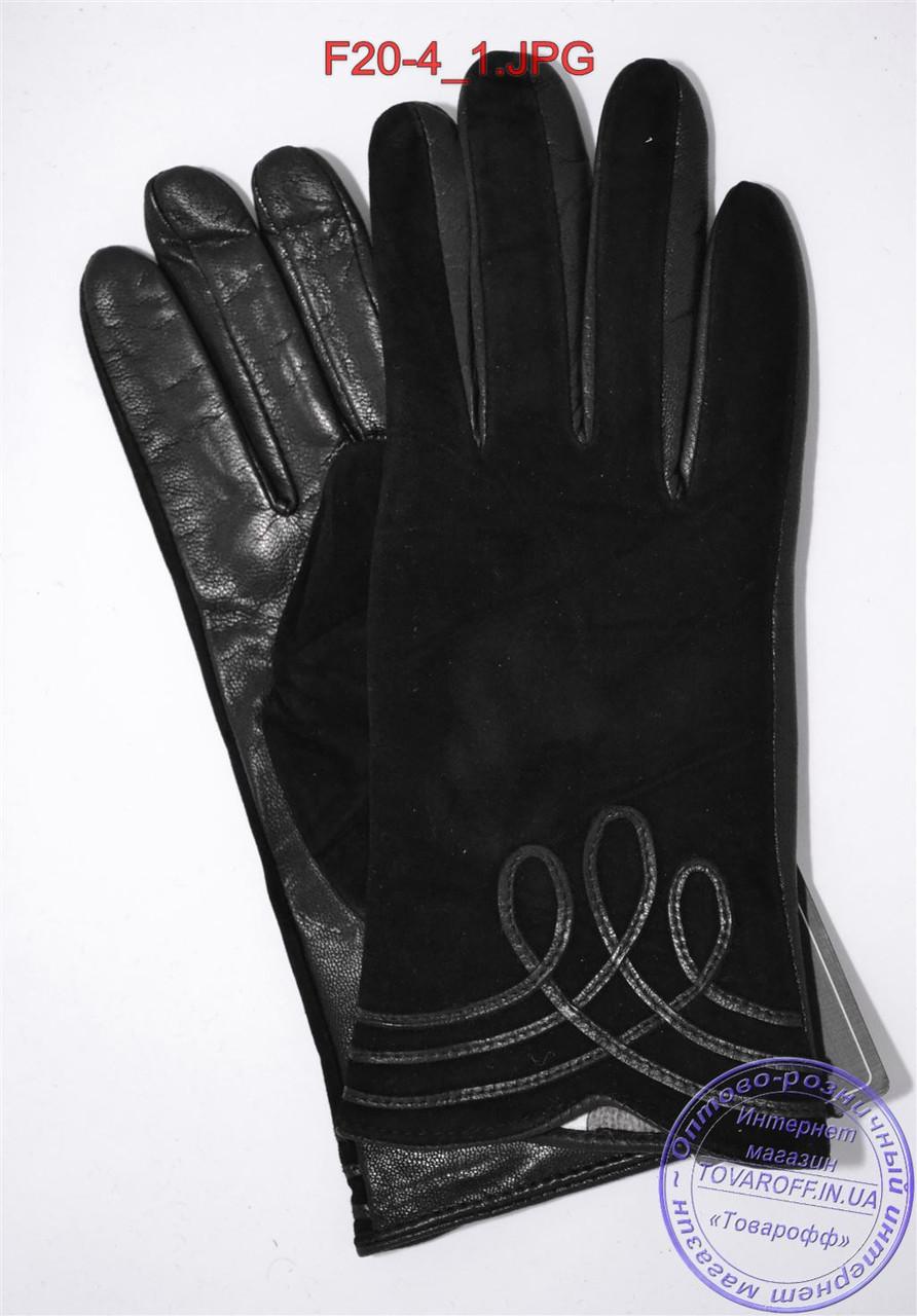"""Оптом женские замшевые перчатки с кожаной ладошкой """"лайка"""" на шерстяной вязаной подкладке - F20-4"""