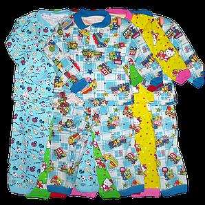 Пижама детская на байке цвета и размеры ассорти с 1до 5 лет Украина OL 2514