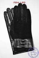 Женские кожаные перчатки (лайка) на шерстяной вязаной подкладке - F20-6, фото 1