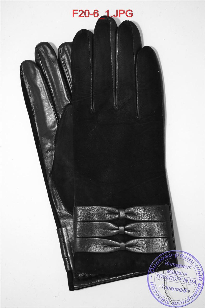 Женские кожаные перчатки (лайка) на шерстяной вязаной подкладке - F20-6
