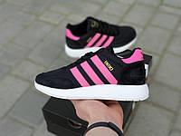 """Женские кроссовки Adidas Iniki Runner Boost """"Black Pink, кроссовки черные в стиле Адидас Иники"""